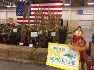 American Flag and crops exhibit